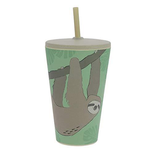 ebos Smoothie-to-Go beker gemaakt van bamboe, met deksel en rietje | Kinderbeker| herbruikbaar, milieuvriendelijk, voedselveilig, vaatwasmachinebestendig, verschillende uitvoeringen (luiaard)