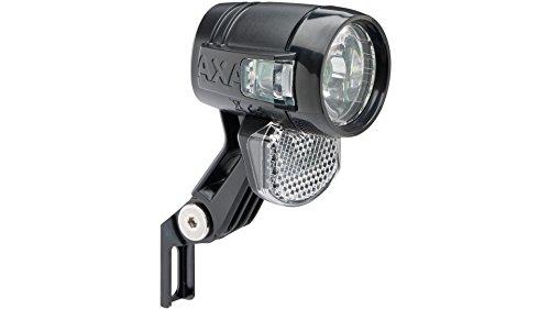 AXA LED-Scheinwerfer Blueline 30 E-Bike 30 Lux, 6 Volt DC, schwarz, mit deutschem Prüfzeichen Zum Anschluss an das Gleichstromsystem des E-Rades, weniger Blendung durch verbesserte und homogene Ausleuchtung, seitliche Sichtbarkeit durch zu