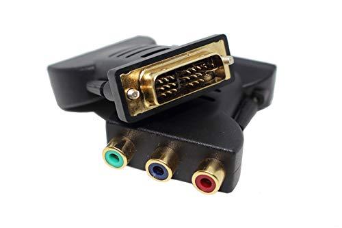 Adaptador de DVI-I Single-Link macho a 3 RCA hembra, conectores de colores...