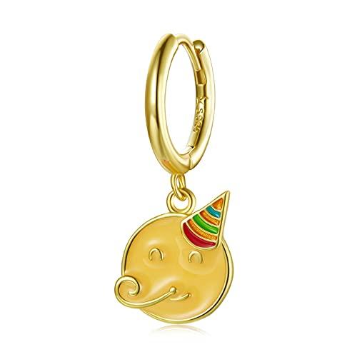 HMMJ Pendientes de plata de ley 925 para mujer, hipoalergénicos, chapados en oro real, pequeños aros para dormir de dibujos, serie Huggie con bisagras, con caja de joyería (color : celebrar)
