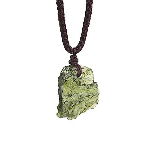HCHL Meteorito checo Collar de Meteorito Mujeres Menores Verde Moldavie Collar Suéter Cadena Colgante Collar Largo Meteorito Genuino de la República Checa (Metal Color : BFQ-521)