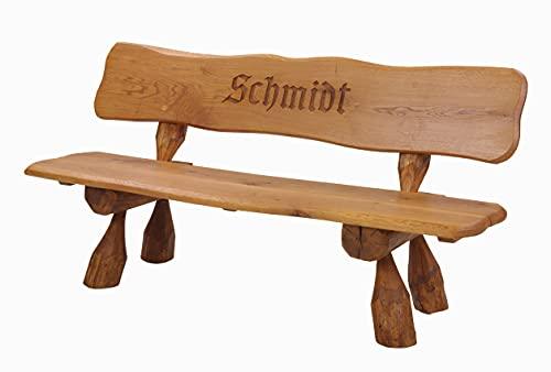Gartenbank Massiv aus Eichenholz mit Gravur, individueller Aufschrift, handgefertigt B200 x H90 cm, Sitztiefe 40 cm, Sitzhöhe 46,5 cm, Gewicht ca. 80 kg, max. Belastung 600 kg