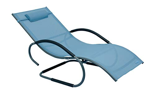 Meerweh XXL Aluminium Schwingliege Swingliege Gartenliege Sonnenliege blau