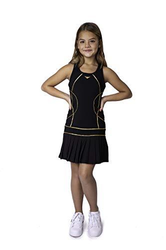 Girls Black Pleated Tennis Dress, Junior Tennis Dress, Girls Team Tennis Outfit, Girls Golf Dress, Girls Sportswear (Black, 10-11 Years)