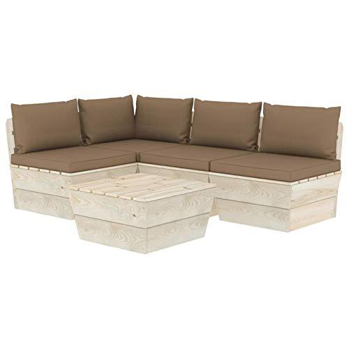 Tidyard Sofa Jardin Exterior Patio Muebles de jardín de palets 5 Piezas y Cojines Madera de Abeto 5#