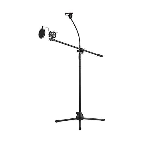 DYecHenG Soporte de Micrófono Micrófono de Metal Suelo trípode del Soporte de Altura Ajustable con Brazo Boom de Estudio al Aire Libre Transmisión en Vivo para Cantar el Habla