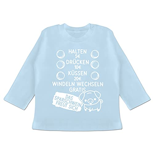 Statement Sprüche Baby - Preisliste mit Sparschwein - weiß - 3/6 Monate - Babyblau - Fun - BZ11 - Baby T-Shirt Langarm