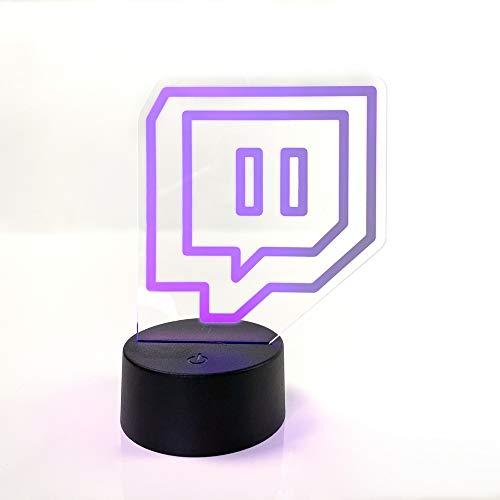 Lampara Twitch | 3D LED| Sistema de cambio de color | Zona gamer | Base con pilas | Luz de noche | Metacrilato 3 mm |