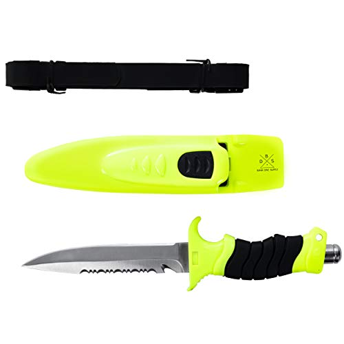 Bahia Dive Supply Stainless Steel Diving Snorkeling Safety Knife with Quick Release Adjustable Leg Straps & Locking Sheath, 5 inch Blade