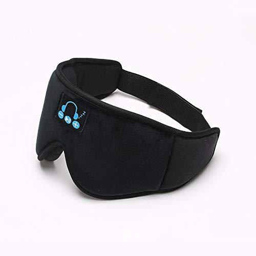 3D Bluetooth Musik Augenmaske integrierter Lautsprecher Mikrofon Bluetooth Einstellbares Schlafmaske Wireless Schlafkopfhörer (Color : Black)