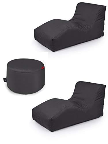 Outbag 3er Set Sitzsack 2 Wave + Rock l Lounge l Anthrazit
