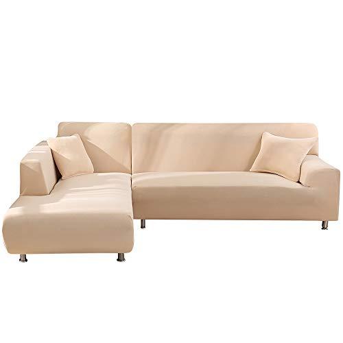 papasgix - Funda de sofá con chaise longue elástica, funda de sofá en forma de L, funda de esquina, lavable y extraíble, fundas protectoras para sofá, 3 plazas + 3 plazas, beige