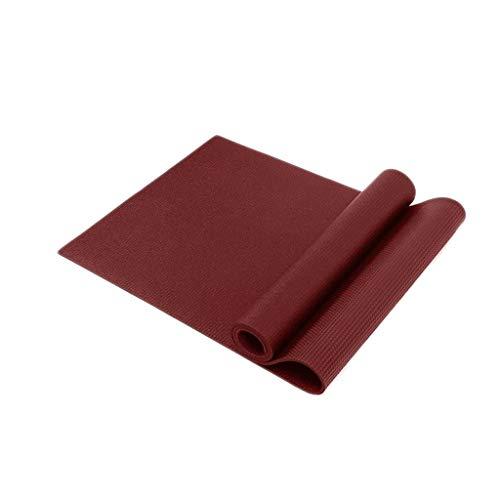 hsj LF- Esterilla de yoga de goma natural que ensancha antideslizante para saltar con el medio ambiente, sin olor, alfombrilla de fitness deportiva negra antideslizante (color: rojo)