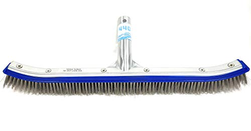 440 Heavy Duty Pool Brush, 18' Extra Wide, Stainless Steel Bristles, Professional-Brush Cleaner to Remove Stains, Works for General Cleaning of Concrete Walls and Floors. NOT for USE in Vinyl Pool