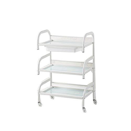 FYZS Trolleys 3-Tier-Salon-Trolley, Heavy Duty Beauty SPA Carts, Lagerrollwagen, mit 1 Schublade 4-Rad, for Küchen Office Home & Medical Trolley Cart (weiß)