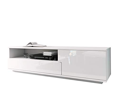 Mirjan24 TV Board Lowboard Muza, TV Lowboard mit Grifflose Öffnen, Unterschrank, Fernsehschrank, Sideboard Tisch Mediaboard (Weiß/Weiß Hochglanz)