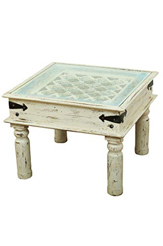 Marokkaanse salontafel bijzettafel Anik 60 cm groot | Vintage kleine tafel van massief hout met messing versierd voor je woonkamer | Laag Oosterse salontafel woonkamertafel wit