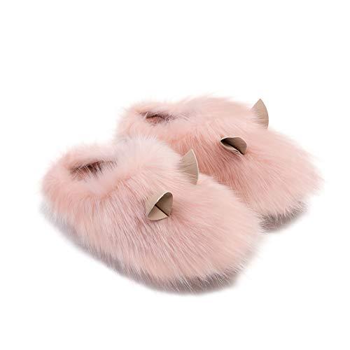 RHSMP Zapatillas de algodón para el hogar de algodón para Mujer cómodas de Moda de Felpa Zapatos Antideslizantes de Interior Dibujos Animados Bonitos, Suaves y cálidos(36-37, Pink)