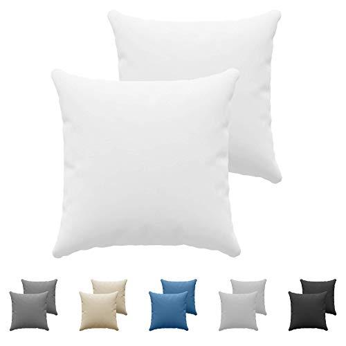 Juego de 2 x Fundas de Almohada 60x60 cm Blanco Dreamzie - 100% Algodon Jersey - Funda de Almohada Algodon 60x60 - Funda Cojin para Cama 60x60 - Protector de Almohada