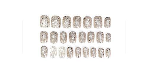 24-teilige falsche Nägel Silberrote Farbe Vollnagel Welle Quadratischer Kopf Gefälschte Nagelspitzen mit glänzendem Diamant-Liebesherz-Kristallkleber-L 68-