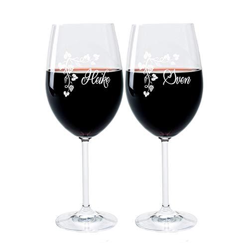 FORYOU24 2 Leonardo Weingläser mit Gravur des Namens und Motiv Weinranke Wein-Glas graviert