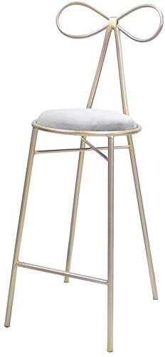 QTQZDD barkruk barkruk Nordic barkruk goud metalen houder barkruk koffie shop stoel suède kussen design (zithoogte: 65 / 75 cm) eetkamerstoelen (kleur: grijs, grootte: 75cm) 3 3