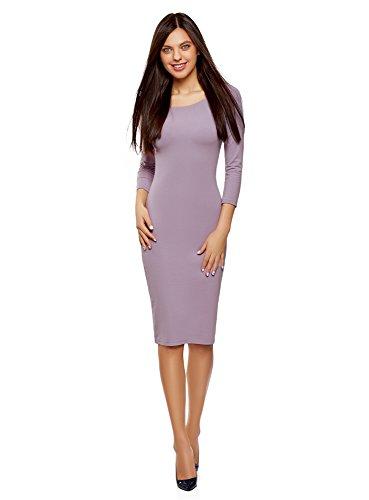 oodji Ultra Damen Enges Kleid mit U-Boot-Ausschnitt, Violett, DE 38 / EU 40 / M