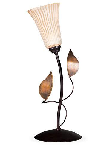 Helios Leuchten 403625 Florentiner Tischleuchte antik-braun handbemalt | florale Lampe Leuchte Tischlampe Landhaus-Stil | 1 x E14