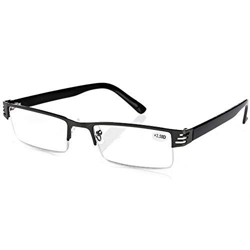 Yunso Lesebrillen Metall Sehhilfe Augenoptik Halbrand Halbrandbrille Brille Lesehilfe für Damen Herren (+1.00)