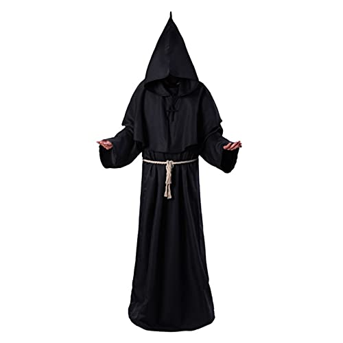 JIANMIN Disfraz de plaga doctor Cristo Disfraces hombres monje Cosplay plaga doctor mscara steampunk tnica sacerdote mago de terror Halloween bruja mujeres (color: negro, tamao: M)