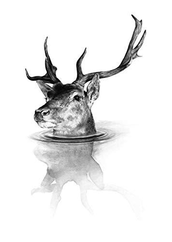 Pintura 5D Diamante para Adultos y Niños Alce en el agua Taladro completo Bordado Redondo Kits de Punto de cruz Artesanía Decoración de Pared para el Hogar Gift-50x60cm