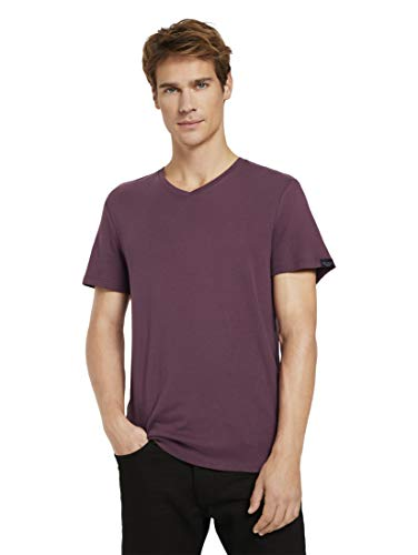 Tom Tailor Basic V-Neck Camiseta, 11333 Dusty Wildberry Red - Juego de Mesa [Importado de Alemania], S para Hombre