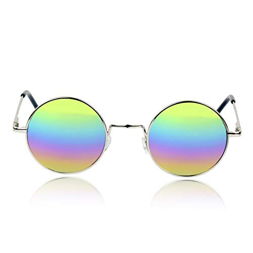70's Costumes for Women Set Rainbow Sunglasses With Tie Dye Peace Sign Necklace