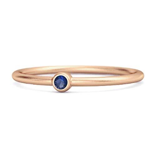 Shine Jewel Multi Elija su Anillo pequeño apilable con Solitario de Piedras Preciosas de Plata de Ley 925 de 0,02 CTS Chapado en Oro Rosa (8, Zafiro Azul)