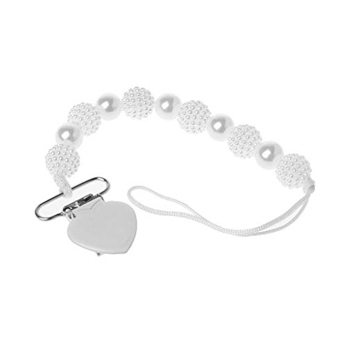 LANDUM Perles Perles Attache Tétine en Perles Colorées Baby Krankenpflege Armbänder Kauen Perlen Kinderkrankheiten Rasseln Spielzeug - Blanc
