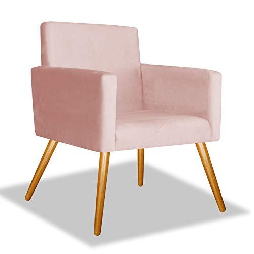 Poltrona Cadeira Nina Para Recepção Quarto Pé Palito Decorativa Sala Consultório Suede Rose - BC Decor