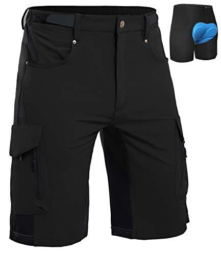 Cycorld MTB Hose Herren Radhose, Schnelltrocknend Mountainbike Hose Fahrradhose mit 4D Sitzpolster, Elastische Outdoor Sport Herren Radlerhose MTB Bike Shorts (Schwarz 06, S)