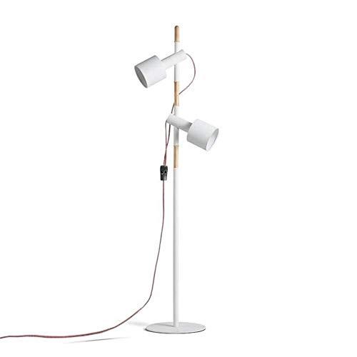 Allamp Lámpara de pie LED del bulbo de elevación Creative Design lámpara de la cabeza ajustable de hierro forjado de madera blanca de la lámpara de pie 1,45 M con el interruptor de botón Dos for la sa