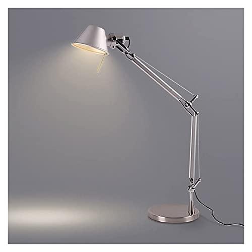 Lámpara de mesa de aluminio, brillo moderno Plata de plata de verano Lectura de la energía Lámpara de mesa Lámparas de escritorio de brazo de swing, luces regulares de escritorio de arquitecto ajustab