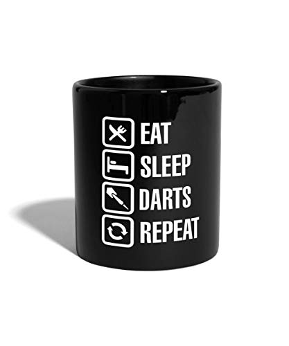 Eat Sleep Darts Repeat Dartspieler Tasse einfarbig, Schwarz