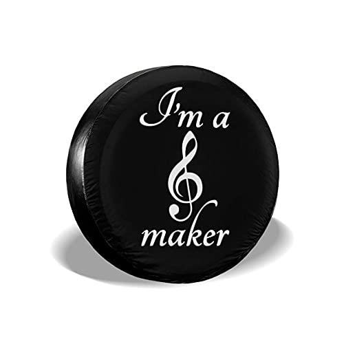 Hokdny Cubiertas para Llantas, Protector Impermeable para Llantas De Repuesto,I 'M A Music Maker Cubierta De Neumático Universal Fit