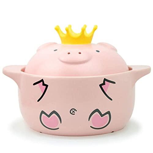 Cacerola de sopa, olla de cocina de cerámica de cerdo rosa resistente a altas temperaturas, mango de cazuela de cerámica de cocina (tamaño 600 ml) (tamaño: 600 ml) (tamaño: 1000 ml) (tamaño: 1000 ml)