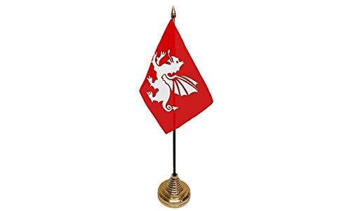 Pack Van 3 Engels Engeland Witte Draak Desktop Tafel Middenstuk Vlag Vlaggen Met Gouden Bases Ideaal Voor Party Conferences Kantoorscherm