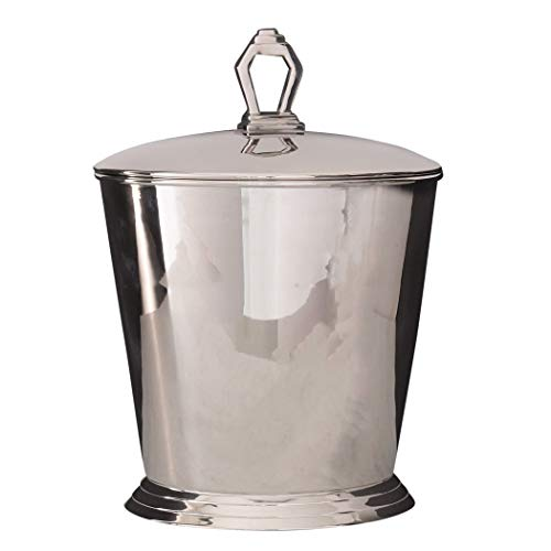 Global Views Elegant Retro Modern Silver Ice Bucket Wine Chiller Nickel Art Deco Large Lid