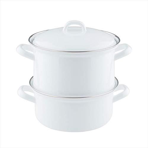 Riess, 0286-033, Kartoffelkocher mit Emaildeckel 18, CLASSIC WEISS, 19 cm hoch, Emaille, Dampfgarer, 18cm Durchmesser, 3teilig, weiß