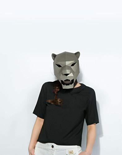 CHOUDOUFU Estatua Escultura Adorno Mscara De Papel 3D Disfraz De Leopardo Jaguar Cosplay DIY Papel Artesana Modelo Mscara Navidad Halloween Fiesta De Graduacin Regalo