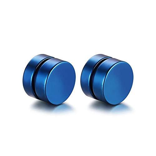 Redondo hermoso círculo no piercing 2pc imán fuerte magnético para hombre clip de oreja a unos 6mm / 8mm / 10mm / 12mm 5 colores Pendientes para niñas-Azul_6mm