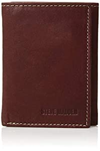 Steve Madden Men's RFID Leather Trifold Wallet, Brown (Antique), One Size