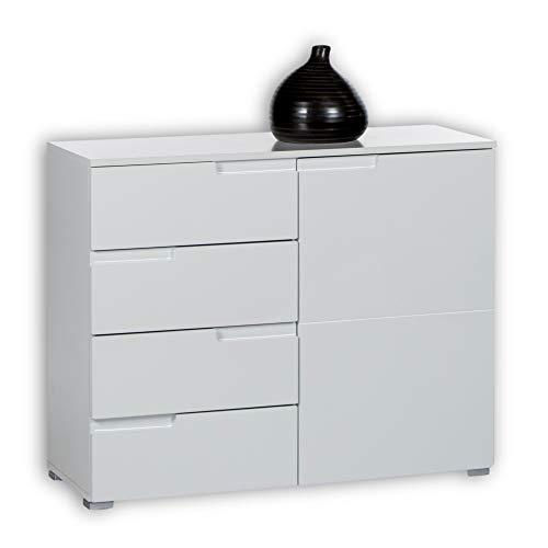 SPICE Kommode in Hochglanz Weiß - Modernes Sideboard mit viel Stauraum für Ihren Wohnbereich - 100 x 80 x 40 cm (B/H/T)