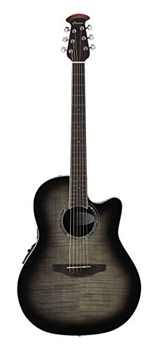 Ovation 6 String Acoustic-Electric Guitar, Right Handed, Trans Black Flame Maple (CS24P-TBBY)